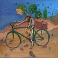 Humano vegetal en bicicleta
